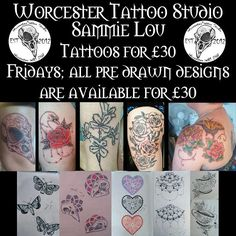 This Friday and every Friday you can get any of @sammielou_tattooapprentice pre drawn designs for 30. For more information contact 07596237438 or worcestertattoostudio@hotmail.co.uk