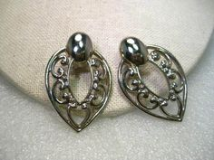 Vintage Silver tone Bold Drop Earrings, Wide Scrolled Cut-Out, 1980's but Curren