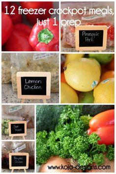 Crockpot Freezer Cooking: 12 meals + a printable shopping list