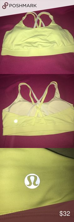 Lululemon Sports Bra A cute women's size 10 Lululemon sports bra with removable padding in the cups and double strap strappy detailing in the back!! It's light yellow and cream in color..in great condition still from a smoke and pet free house lululemon athletica Intimates & Sleepwear Bras