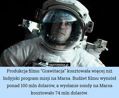 """Produkcja filmu """"Grawitacja"""" kosztowała więcej niż Indyjski program – Produkcja filmu """"Grawitacja"""" kosztowała więcej niż Indyjski program misji na Marsa. Budżet filmu wyniósł ponad 100 mln dolarów, a wysłanie sondy na Marsa kosztowało 74 mln dolarów."""