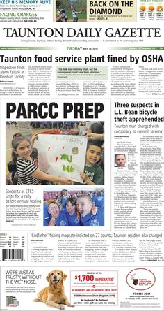 The front page of the Taunton Daily Gazette for Tuesday, May 10, 2016.