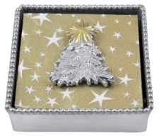 """Beaded Napkin Box with Pine Tree Weight  Item 2797-C    Price:$48.00 (Suggested Retail)  Materials:Recycled Sandcast Aluminum  Dimensions:5.75""""L x 5.75""""W x 2""""H"""