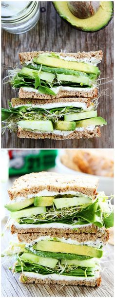 Whole grain wheat, 'Cucumber and Avocado Sandwich' with cream cheese spread, sprouts, & leaf lettuce or Spring mix for the perfect vegetarian warm weather lunch.