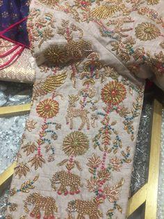 Zardosi Embroidery, Embroidery On Kurtis, Kurti Embroidery Design, Bead Embroidery Patterns, Couture Embroidery, Hand Embroidery Designs, Hand Work Blouse Design, Fancy Blouse Designs, Bridal Blouse Designs