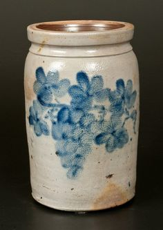 Unusual One-Gallon Stoneware Jar with Cobalt Grapes