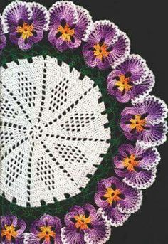 MATERIALS: Size 10 crochet cotton: 1 ball each of white, green, shaded yellow, and shaded purple. Steel crochet hook size (I remember these from my childhood) The pansies could be used as a flower brooch or card embellishment etc. Crochet Dollies, Crochet Doily Patterns, Crochet Motif, Crochet Designs, Crochet Flowers, Knitting Patterns, Irish Crochet, Crochet Home, Crochet Crafts
