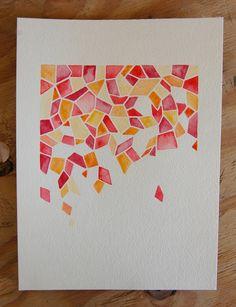Pink Petal Geometric Watercolor Painting by LifesLittleStudio