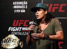 UFC women's bantamweight champion Amanda Nunes of Brazil interacts. Mma Girl Fighters, Amanda Nunes, Ufc Women, Ufc Fight Night, Muay Thai, Brazil, February, Champion, Fans