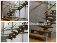 Metal single stringer stair with wooden steps. Metallic structure of electrostatic painted steel. Wooden Steps, Exterior Stairs, Floating Stairs, Interior Decorating, Interior Design, Wood Interiors, Spiral Staircase, Solid Oak, Home Decor