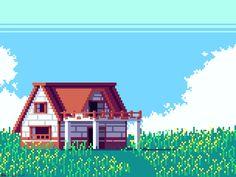 8 Bit Art, Pixel Art Games, Minecraft Architecture, Peaceful Places, Landscape Wallpaper, Minecraft Houses, Art Images, Digital Illustration, Game Art