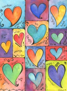 Hearts, a watercolor painting by Sivah Studio Gifs Ideas, Heart Painting, Valentines Art, Happy Paintings, Heart Wallpaper, Collaborative Art, Flower Doodles, Celtic Art, Artist Trading Cards