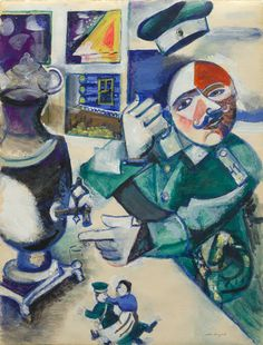 Collection Online   Marc Chagall. The Soldier Drinks (Le soldat boit). ca. 1923–24 - Guggenheim Museum