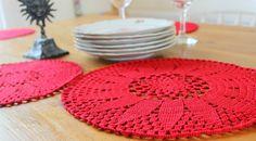 Crochet Christmas place mats set of 6  Christmas by CraftKompot, £70.00