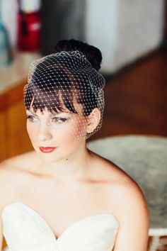 We love a good birdcage veil for a retro look Photography By / olivialeighweddings.com, Wedding Day Coordination By / anticipationevents.com