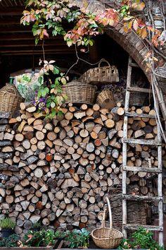 Woodpile, Baskets, Leaves