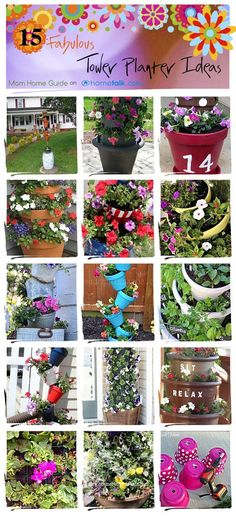 flowertower - a whole bunch of tipsy pot / topsy turvy tower planter ideas at Hometalk.com