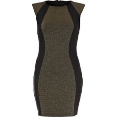 River Island Black Sparkle Panel Bodycon Dress ($49) ❤ liked on Polyvore