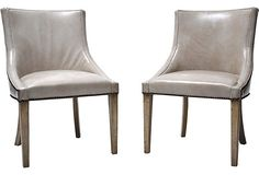 Love these as just pull up chairs, or one pull up chair to a sofa/writing table.    Mid-Century Modern Leather Chairs, Pair on OneKingsLane.com