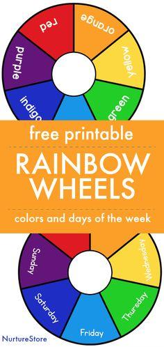 Free printable colour wheel, rainbow wheel printable, days of the week printable, color printable matching game