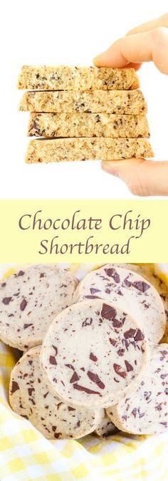 These Chocolate Chip Shortbread Cookies magically have texture of a classic shortbread cookie while remaining soft and moist. A sweet brown sugar, vanilla dough is marbled with semi-sweet chocolate chips for a sweet treat that is perfect as dessert or wit