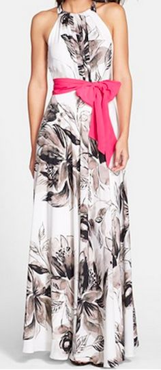 Black and white floral maxi dress with pink bow