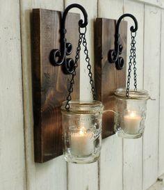 NEW...Set of 2 Hanging Mason Jar Candle Lanterns....Rustic Farmhouse... Wood Wall Decor... Made to Order