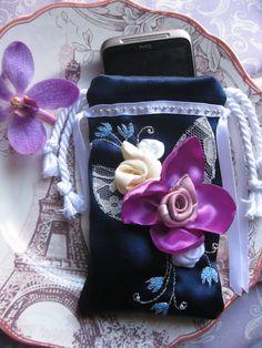 Handmade Cell Phone Case. Cell Phone Bag. Dark blue, Purple Flowers. Unique. Elegant Cell Phone Case.