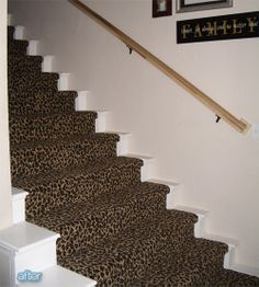 Better After: stairs Entry Foyer, Home Improvement, New Homes, Stairs, Carpet, Flooring, Cheetah, House Ideas, Diy