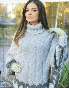 Poncho with sleeves jacquard pattern at the bottom. Poncho Knitting Patterns, Crochet Poncho, Hand Knitting, Poncho Design, Poncho With Sleeves, Handgestrickte Pullover, Knitted Cape, Wool Cape, Poncho Shawl