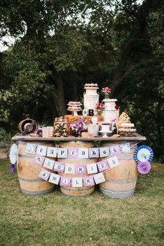 a dessert table extraveganza by http://enjoycupcakes.com/  Photography By / mariannewilsonphotography.com