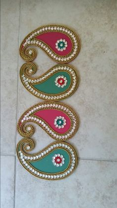 Beautiful  paisley  rangoli  I  made.