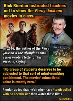 Writers That Flat-Out Hated Adaptations Of Their Work Related posts:Percy Jackson headcanons and stuff Chase and Percy Jackson, love story. ♥Die besten Percy Jackson Sprüche - New Ideas Percy Jackson Film, Percy Jackson Ships, Percy Jackson Memes, Percy Jackson Fandom, Rick Riordan Bücher, Rick Riordan Series, Rick Riordan Books, Solangelo, Percabeth