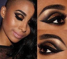 Tutorial – cut crease com dourado e preto festivo!