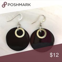 Natural horn black/tan French wire earrings Simple elegant circular disks are timeless.  Lightweight and easy to wear. Jewelry Earrings