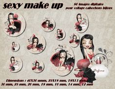 "80 images collage digital pour cabochons ""sexy make up"" : Cabochon par miss-coopecoll"