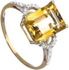 Viducci Citrine Diamond Ring - Glowing with a bright and sunny presence, this beautiful citrine diamond ring from Viducci is an appealing display.