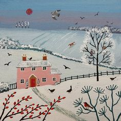 'Pink Cottage in the Snow' by Jo Grundy, Artist