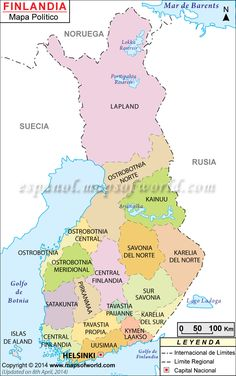 Finland Map- cross the boarder from Lapland to Sweden. Lappland, Finland Flag, European Map, Finland Travel, India Map, Country Maps, World Geography, Fjord, Helsinki