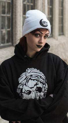 Shattered Skull Hoodie - Eye of Horus Winter White Beanie - Cryptic Apparel  brings you best 1c6b0970298