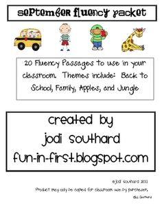 September Fluency Packet - Common Core Correlated - Jodi Southard - TeachersPayTeachers.com