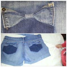 Jeans I made into shorts . #bow #diy #denim #shorts