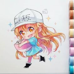 Platelets 💗💗💗 It is so adorable ! - // 7 // -)But I think my favorite is the white blood cell I love it. And what is your favorite character of ? Anime Girl Drawings, Kawaii Drawings, Anime Artwork, Manga Drawing, Anime Art Girl, Cute Drawings, Kawaii Anime, Cute Anime Chibi, Kawaii Art
