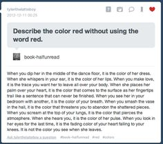 Describe the color red without using the word red