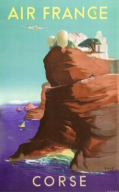Air France, Corse by Eric / 1949 Vintage travel beach poster #essenzadiriviera.com