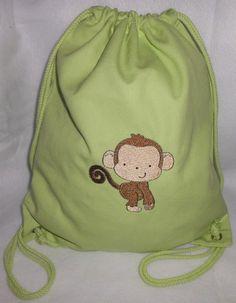 Turnbeutel - Turnbeutel Sportbeutel bestickt mit Affe - ein Designerstück von…