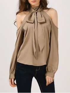 Cold Shoulder Blouse With Silk Scarf - KHAKI M