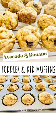 Healthy Home Made Avocado Muffin Recipe Healthy avocado and banana mini muffins that are easy to make. This avocado banana muffin recipe is good for toddlers, kids, and the adults. There is no refined sugar in these simple homemade muffins! Kid Muffins, Mini Banana Muffins, Toddler Muffins, Breakfast Muffins, Easy Snacks, Healthy Snacks, Healthy Recipes, Healthy Toddler Meals, Kids Meals