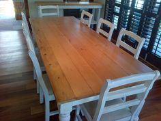 Rustic dining room Table. Seats 10. Recycled and reclaimed wood with natural legs. Oregon pine. Outdoors