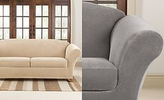 Sure Fit Stretch Pique 2 Cushion Sofa Slipcover
